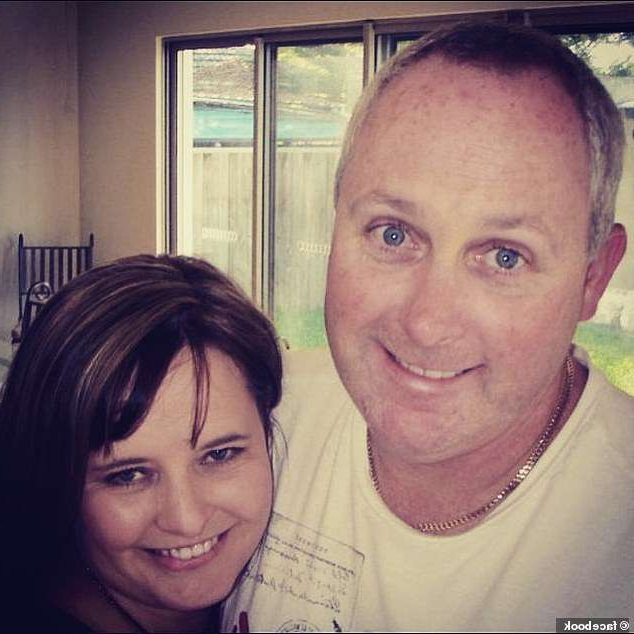a smiling man and woman posing for a photo: Dean Sanderson (pictured left with wife Shannon) was killed in a tragic ziplining accident in north Queensland on Tuesday afternoon
