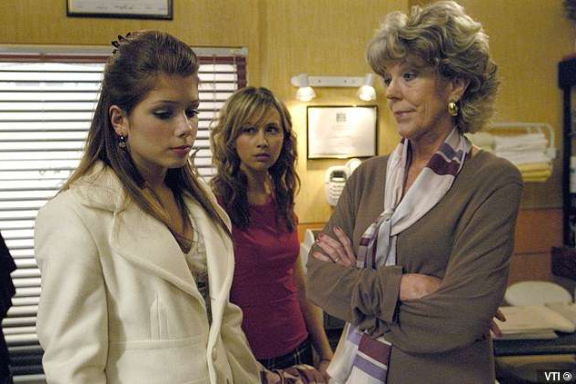 Sue Nicholls, Nikki Sanderson posing for the camera: Classic: Nikki joined Corrie as Sarah Platt's best friend Candice, and eventually went onto work in Audrey's salon (above in 2005)