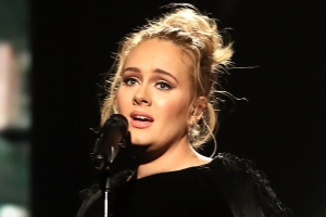 Adele Stuns in Velvet Gown at Drake's 33rd Birthday Party