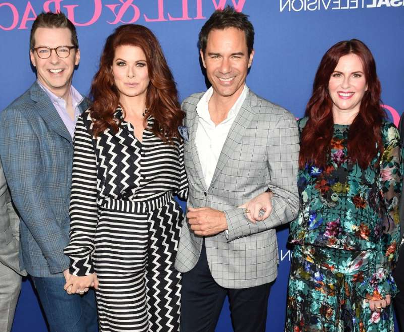 Megan Mullally, Eric McCormack, Debra Messing, Sean Hayes posing for a photo: Megan Mullally, Eric McCormack, Debra Messing, and Sean Hayes attend a 'Will and Grace' FYC event on June 9, 2018 in Los Angeles, California.