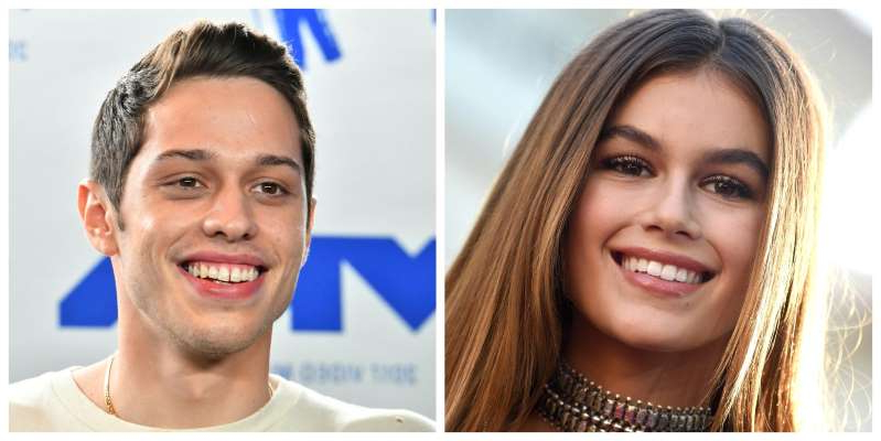 a close up of Rachel Bilson, Pete Davidson smiling for the camera
