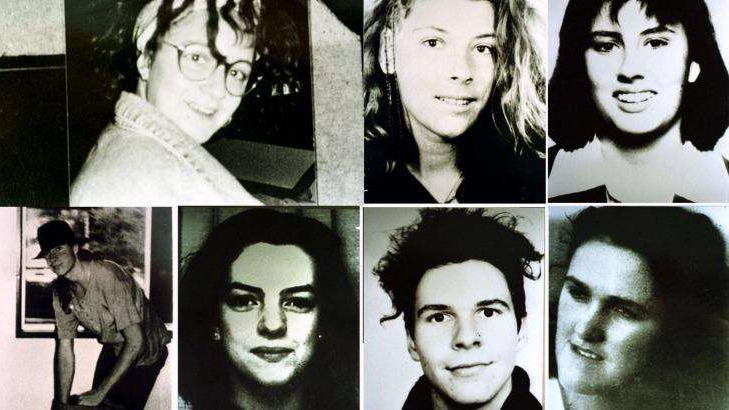Daniela Goggi et al. posing for a photo: Milat's victims, pictured clockwise from top-left: Deborah Everest of Australia, Anja Habschied of Germany, Simone Schmidl of Germany, James Gibson of Australia, Caroline Clarke of the UK, Gabor Neugebauer of Germany and Joanne Walters of the UK.