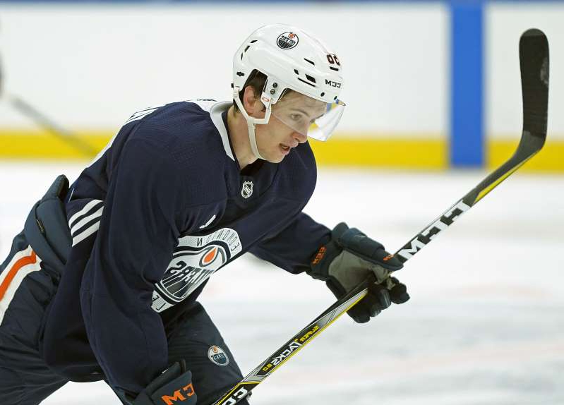 Edmonton Oiler rookie Kailer Yamamoto skates during the Oilers rookie training camp at Rogers Place in Edmonton on Friday September 7, 2018.