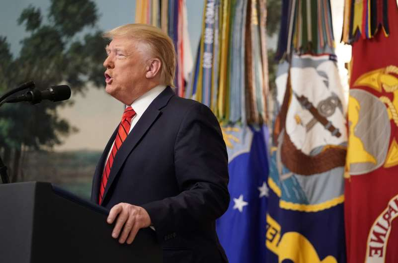 U.S. President Donald Trump makes a statement at the White House following reports that U.S. forces attacked Islamic State leader Abu Bakr al-Baghdadi in northern Syria, in Washington, U.S., October 27, 2019. REUTERS/Joshua Roberts