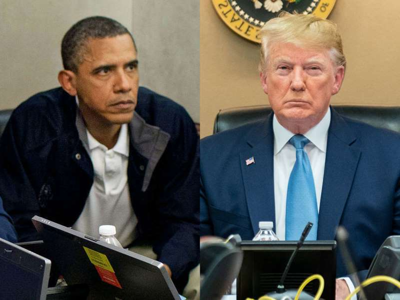 Donald Trump, Barack Obama sitting at a table