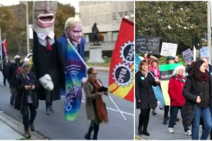 Protesters Are Marching A Giant Doug Ford Around Queen's Park Right Now (VIDEOS)