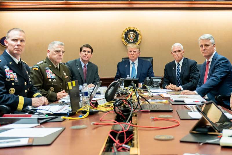 Robert C. O'Brien, Mike Pence, Donald Trump, Mark A. Milley sitting at a table