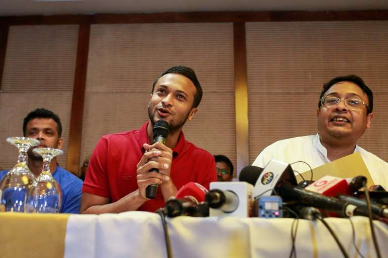 Shakib Al Hasan, Abdur Razzak are posing for a picture: Bangladesh captain Shakib Al Hasan speaks to journalists when outlining details of the strike