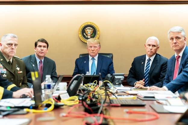Slide 1 of 9: In this handout photo provided by the White House, President Donald J. Trump is joined by Vice President Mike Pence (2nd L), National Security Advisor Robert O'Brien (L), Secretary of Defense Mark Esper (2nd R) and Chairman of the Joint Chiefs of Staff U.S. Army General Mark A. Milley in the Situation Room of the White House October 26, 2019 in Washington, DC.