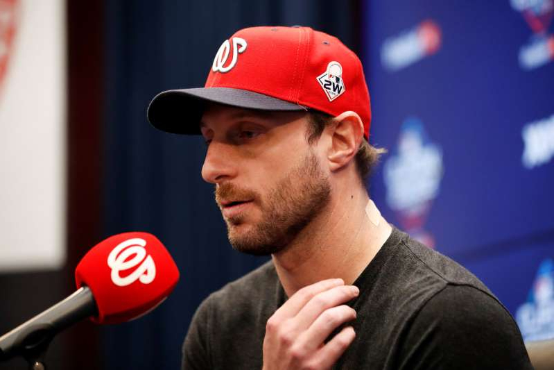 Washington Nationals starting pitcher Max Scherzer speaks during a news conference before Game 5 of the baseball World Series against the Houston Astros Sunday, Oct. 27, 2019, in Washington. Scherzer was slated to start Sunday's World Series game, has been scratched with spasms in his neck and right trapezius.(AP Photo/Alex Brandon)