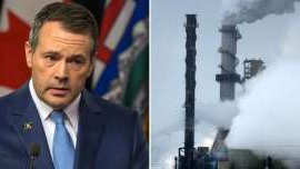 Jason Kenney in a suit and tie with smoke: Alberta will keep its carbon price on large emitters at $30 per tonne, Premier Jason Kenney's United Conservative government has announced.
