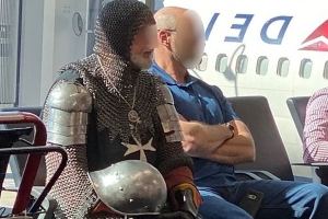 Knight flight: Passenger dressed in full suit of armor, including chainmail and helmet, is spotted in departures at Atlanta airport…. Leaving travelers wondering how long it took him to get through security