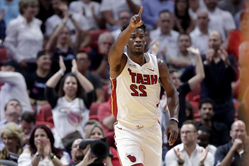 Miami Heat forward Jimmy Butler (22) reacts after scoring during the first half of the team's NBA basketball game against the Atlanta Hawks, Tuesday, Oct. 29, 2019, in Miami. (AP Photo/Lynne Sladky)