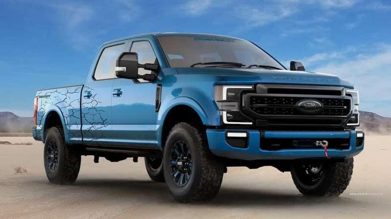 a blue and white truck parked next to a car: 2019 Ford Super Duty SEMA Rigs 4