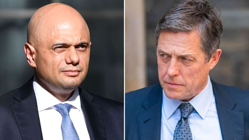 Hugh Grant, Sajid Javid are posing for a picture: Hugh Grant and Sajid Javid have both called each other rude