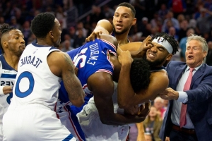 Karl-Anthony Towns and Joel Embiid fight (video)