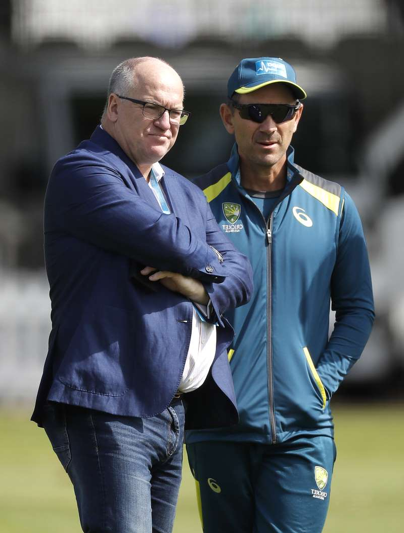 LONDON, ENGLAND - AUGUST 12: Justin Langer, coach of Australia,  speaks with Cricket Australia Chairman Earl Eddings during the Australia Nets Session at Lord's Cricket Ground on August 12, 2019 in London, England. (Photo by Ryan Pierse/Getty Images)