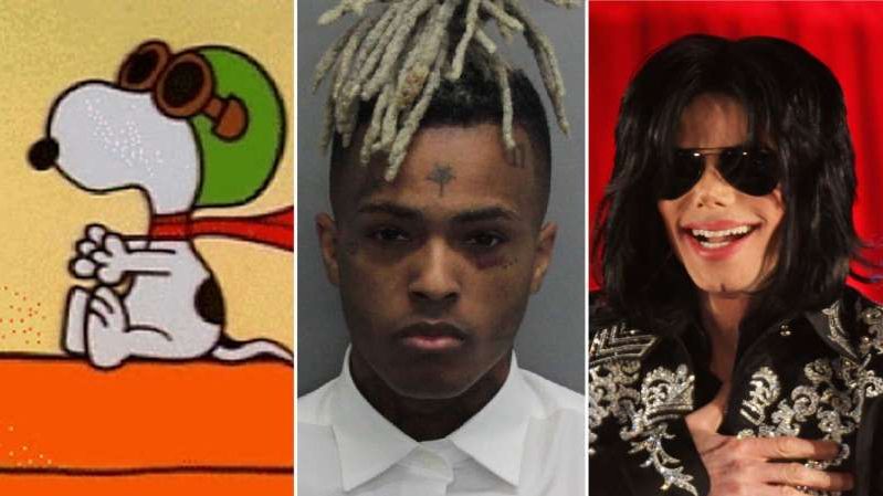 Michael Jackson et al. posing for a photo: Michael Jackson, XXXTentacion and the creator of Snoopy all make the list