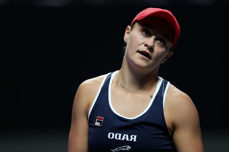 SHENZHEN, CHINA - OCTOBER 29: Ashleigh Barty of Australia shows her frustration during her Women's Singles match against Kiki Bertens of the Netherlands on Day Three of the 2019 Shiseido WTA Finals at Shenzhen Bay Sports Center on October 29, 2019 in Shenzhen, China. (Photo by Matthew Stockman/Getty Images)