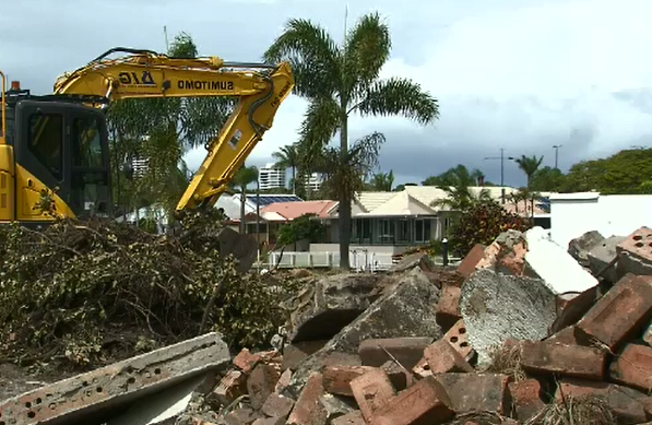a close up of a truck: Tradies have unearthed thousands of dollars in cash buried in a Gold Coast backyard.