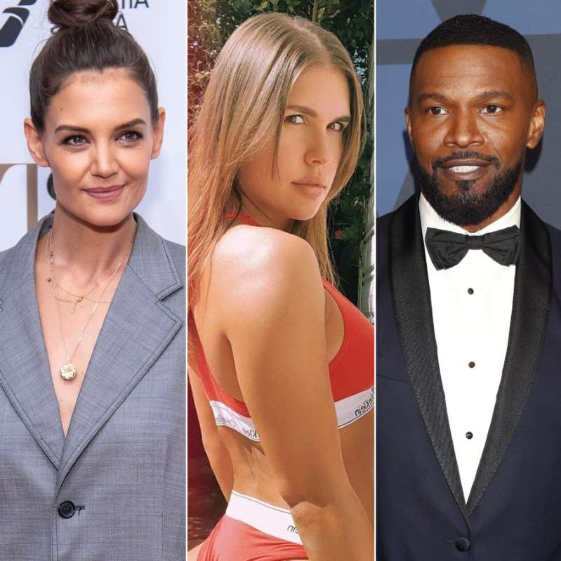 Jamie Foxx, Katie Holmes posing for a photo: Jamie Foxx, Dana Caprio and Katie Holmes.