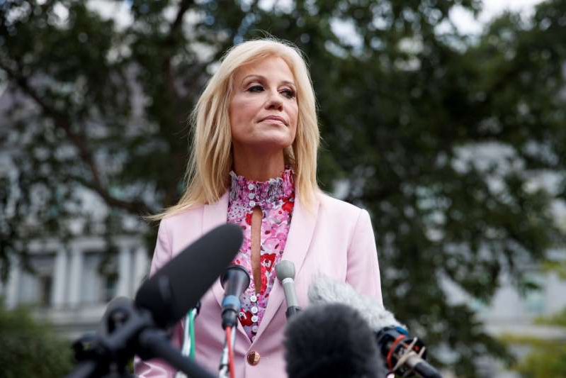 Counselor to the President Kellyanne Conway pauses as she speaks to media outside the West Wing of the White House, Thursday, July 25, 2019. (AP Photo/Carolyn Kaster)