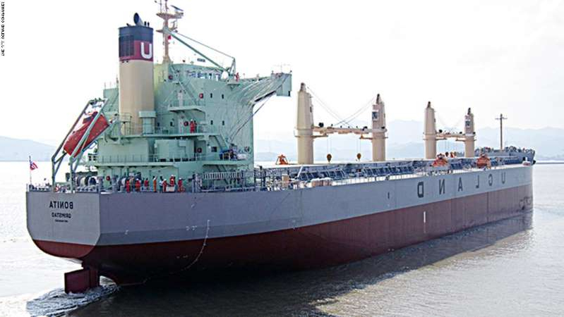 a large ship in the water: Pirates boarded the MV Bonita at the Cotonou port in Benin, shipping company J.J. Ugland said.