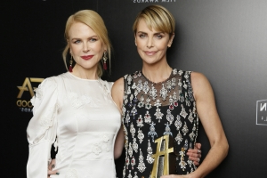 Charlize Theron Gets Emotional After Accepting Hollywood Film Award from Nicole Kidman