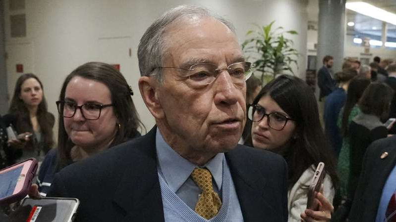 Chuck Grassley wearing a suit and tie: Grassley: Up to whistleblower to reveal identity