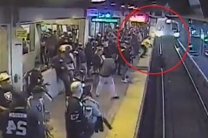 Dramatic video shows California transit worker save man from oncoming train