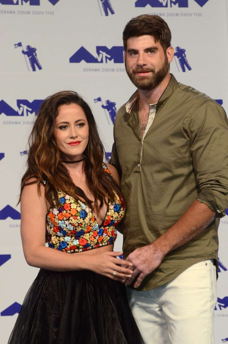 Jenelle Evans and woman posing for a picture: David Eason and Jenelle Evans attend the MTV Video Music Awards in Los Angeles on Aug. 27, 2017.