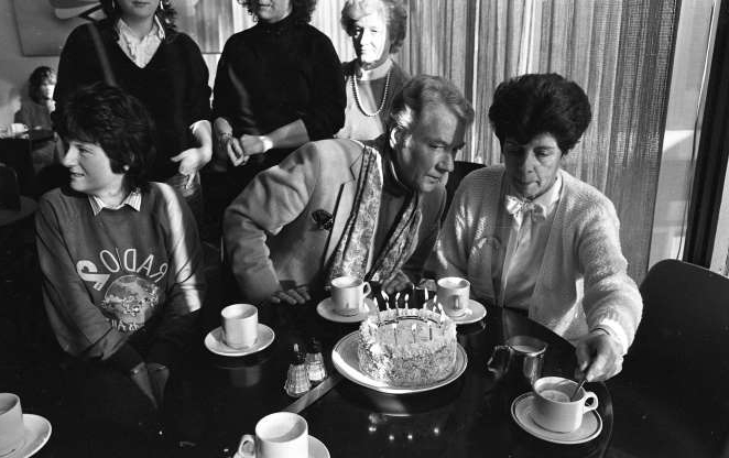 Slide 1 of 26: Gay Byrne having cake in Studio 5 on the 15th Anniversary of his Radio Show, 04/02/1988 (Part of the Independent Newspapers Ireland/NLI Collection). (Photo by Independent News and Media/Getty Images)