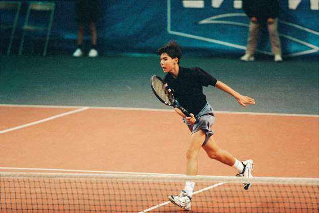 Slide 1 of 38: Rafael Nadal from Spain during the 2000 Les Petits As tournament.