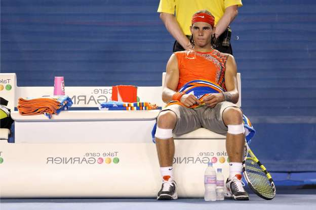Slide 12 of 38: Spain's Rafael Nadal Sits Between Games During His Semifinal Match Against France's Jo-wilfried Tsonga at the Australian Open in Melbourne Australia 22 January 2008 Tsonga Won 6-2 6-3 6-2
