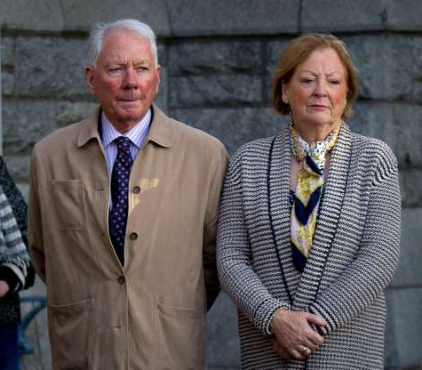 Slide 26 of 26: Gay Byrne with his wife Kathleen outside the Church of the Scared Heart, Donnybrook, Dublin, as he arrives for the requiem mass of poet Seamus Heaney before his funeral