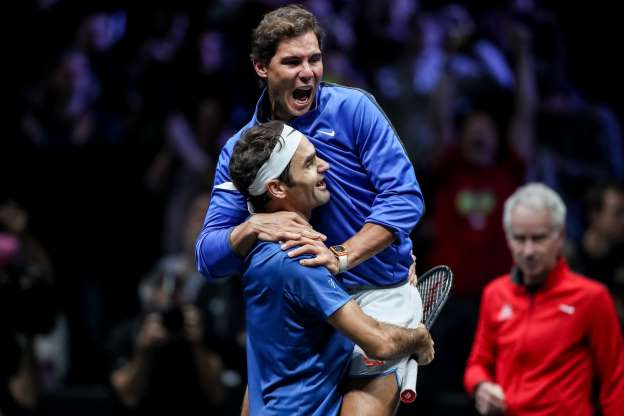 Slide 34 of 38: Switzerland's Roger Federer (down) and Spain's Rafael Nadal of the Team Europe celebrate after winning the Laver Cup tennis tournament in Prague, Czech Republic, 24 September 2017.