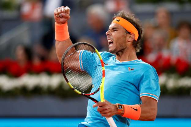 Slide 36 of 38: Tennis - ATP 1000 - Madrid Open - The Caja Magica, Madrid, Spain - May 11, 2019   Spain's Rafael Nadal reacts during his semi final match against Greece's Stefanos Tsitsipas   REUTERS/Susana Vera