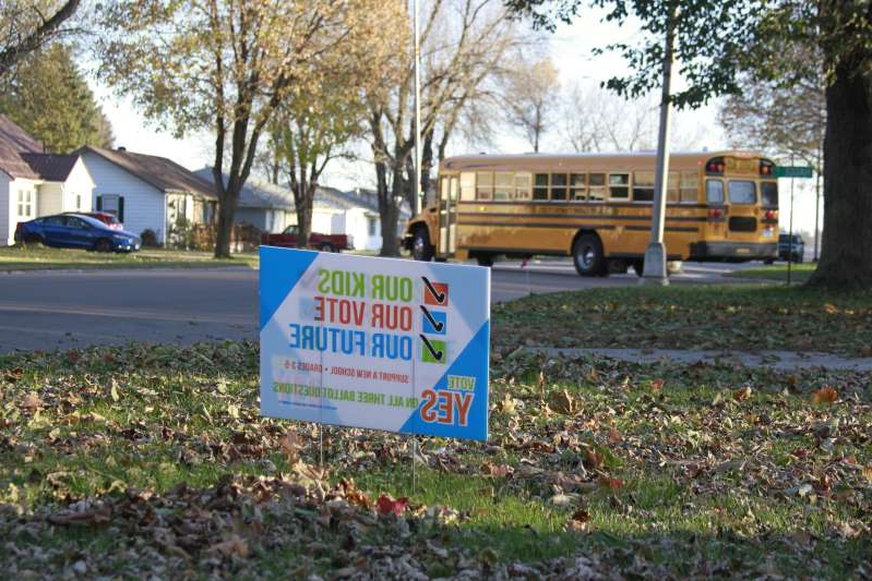 In this Oct. 31, 2019 photo, a yard sign supporting a school funding ballot measure is seen in Worthington, Minn. Voters in this southwestern Minnesota town will weigh nearly $34 million in new borrowing to expand schools filled to overflowing in recent years by an influx of immigrants, on, Tuesday, Nov. 5, 2019. (AP Photo/Stephen Groves)