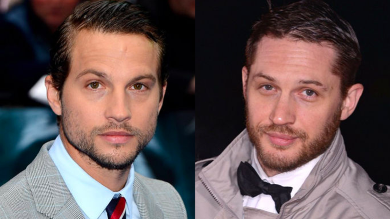 Tom Hardy, Logan Marshall-Green are posing for a picture: Tom Hardy and Logan Marshall-Green.