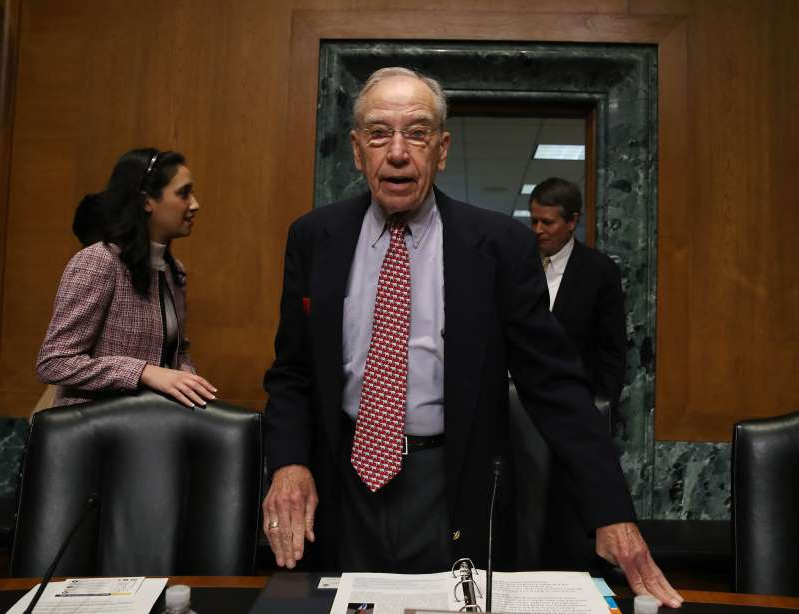 WASHINGTON, DC - OCTOBER 24: Chairman Chuck Grassley (R-IA) arrives at a Senate Finance Committee committee hearing on Capitol Hill, October 24, 2019 in Washington, DC. The committee heard testimony on treating substance misuse in America.   (Photo by Mark Wilson/Getty Images)