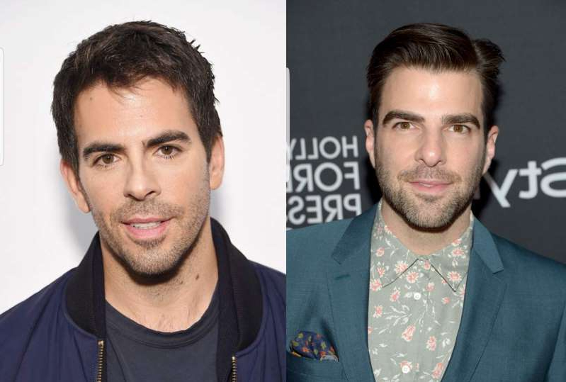 Zachary Quinto, Eli Roth are posing for a picture: Zachary Quinto and Eli Roth.