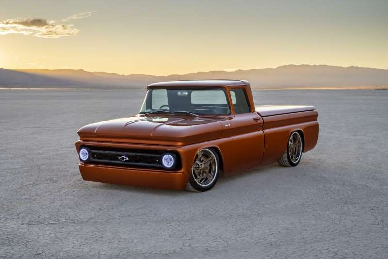 a car parked in front of a body of water: Chevrolet E-10 SEMA