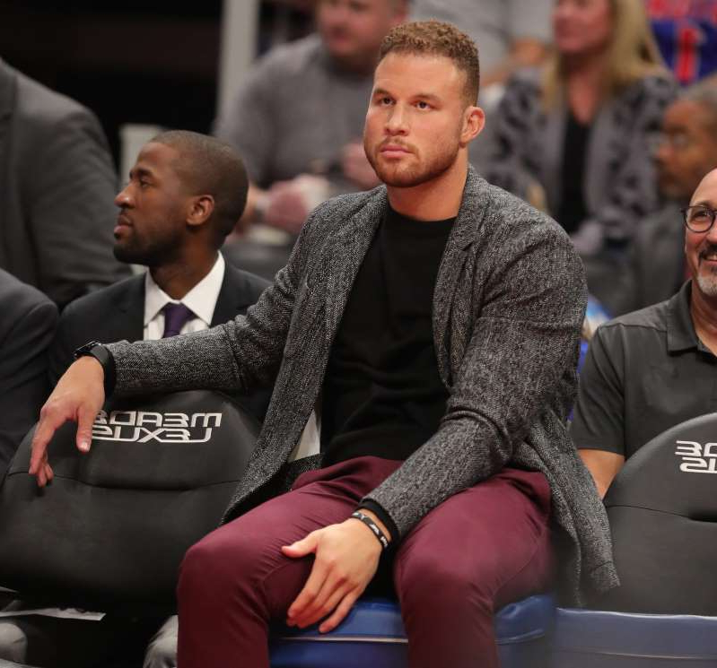 Blake Griffin et al. looking at each other: Detroit Pistons forward Blake Griffin watches action against the Indiana Pacers on Monday, Oct. 28, 2019 at Little Caesars Arena.