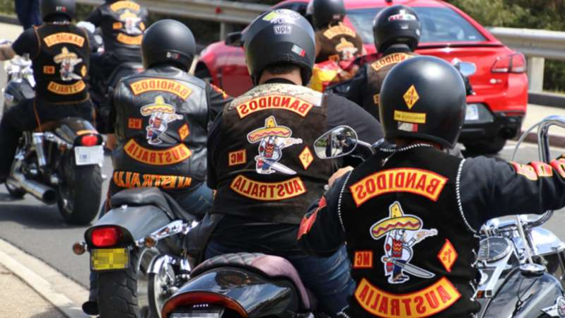 a group of men riding on the back of a motorcycle: There are about 270 fully-patched members of outlaw bikie gangs in Tasmania, according to police. (ABC News: Henry Zwartz)
