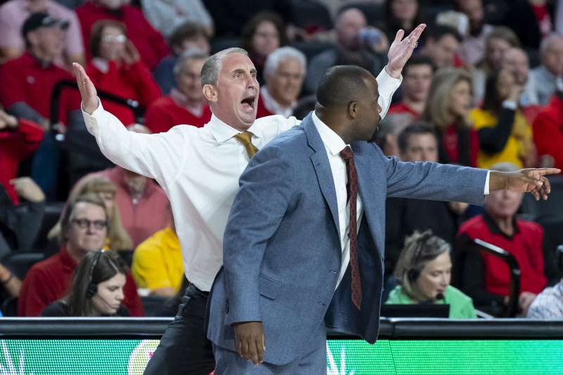 Arizona State head coach Bobby Hurley, right, and associate head coach Rashon Burno react on the sideline during the first half of an NCAA college basketball game against Georgia, Saturday, Dec. 15, 2018, in Athens, Ga. (AP Photo/John Amis)