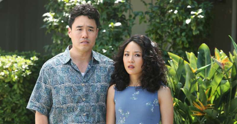 Constance Wu, Randall Park are posing for a picture: Good-bye, Huang family. Gilles Mingasson/ABC