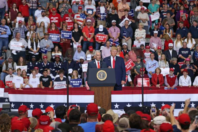 Donald Trump et al. in front of a crowd: President Trump Holds A