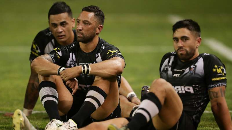 Shaun Johnson, Benji Marshall, Ken Maumalo are posing for a picture