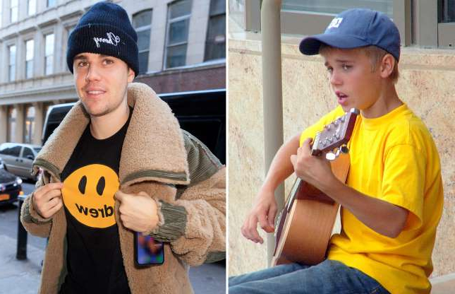 Slide 5 of 121: STRATFORD, CANADA - AUGUST 20: (EXCLUSIVE ACCESS; EDITORS NOTE: Best available quality) Justin Bieber performs on the street August 20, 2007 in Stratford, Canada. (Photo by Irving Shuter/Getty Images); NEW YORK, NY - FEBRUARY 26: Justin Bieber shows off a 'Drew' shirt when out and about on February 26, 2019 in New York City. (Photo by Gotham/GC Images)
