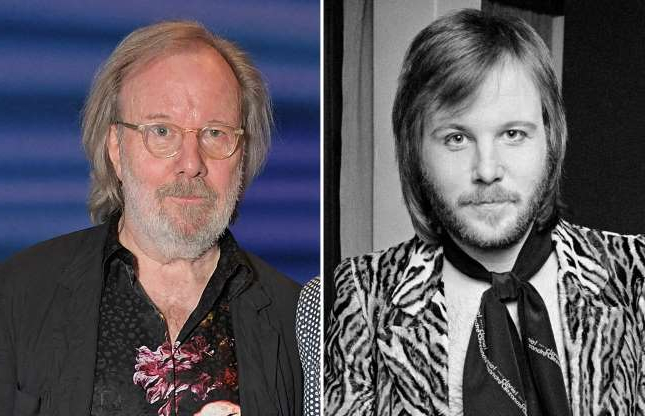 Slide 61 of 121: COPENHAGEN, DENMARK: Benny Andersson of Abba poses backstage in January 1975 in Copenhagen, Denmark. (Photo by Jorgen Angel/Redferns); LONDON, ENGLAND - APRIL 06: Bjorn Ulvaeus (L) and Benny Andersson attend the 20th anniversary performance of 'Mamma Mia!' at the Novello Theatre on April 6, 2019 in London, England. (Photo by David M. Benett/Dave Benett/Getty Images )
